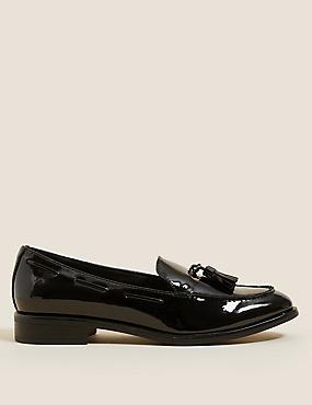 Patent Tassel Flat Loafers