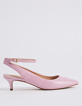 Leather Kitten Heel Buckle Court Shoes