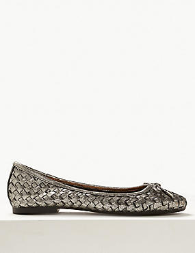 Leather Weave Ballet Pumps, PEWTER, catlanding