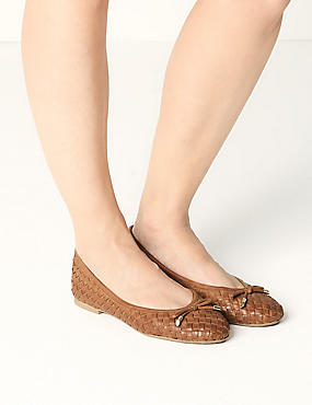 Leather Weave Ballet Pumps, TAN, catlanding