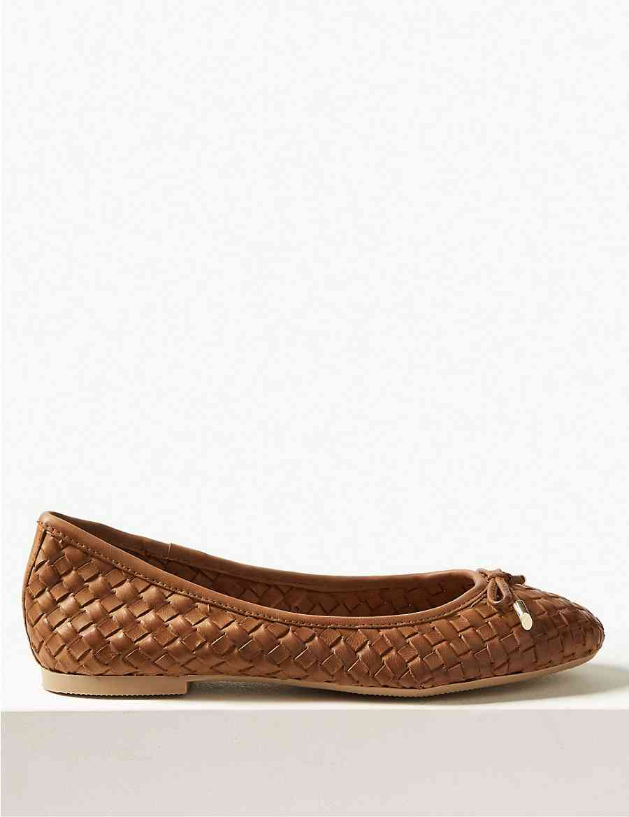 5193fa666be Leather Weave Ballet Pumps