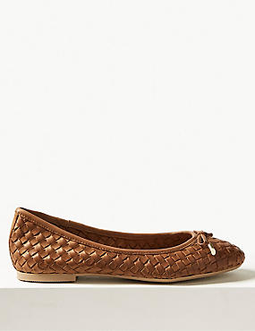Leather Weave Ballet Pumps
