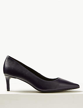 Leather Kitten Heel Court Shoes
