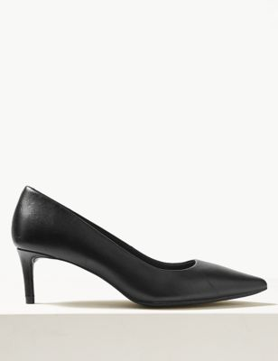 Leather Kitten Heel Court Shoes by Marks & Spencer