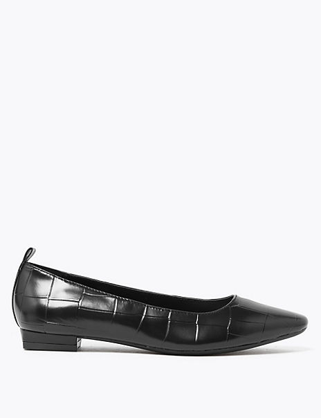 Leather Almond Toe Ballet Pumps