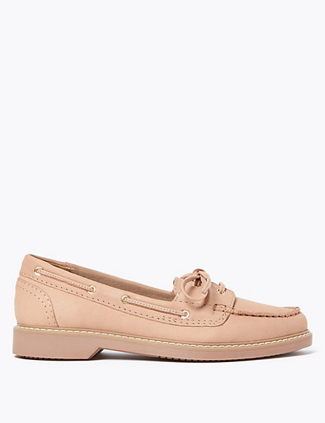 Leather Lace Detail Boat Shoes