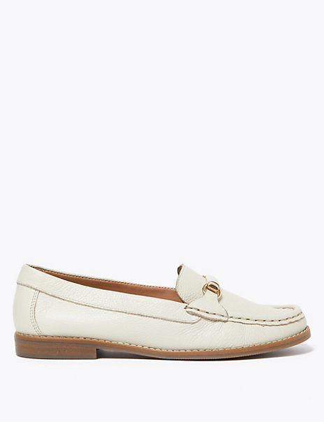 Leather Bar Trim Flat Loafers