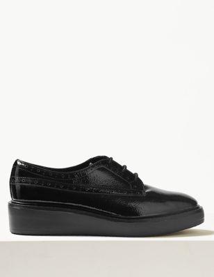 Leather Block Heel Flatform Brogue Shoe by Marks & Spencer