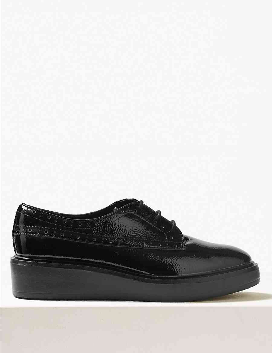 9b3c0f51f947 Leather Flatform Brogue Shoes