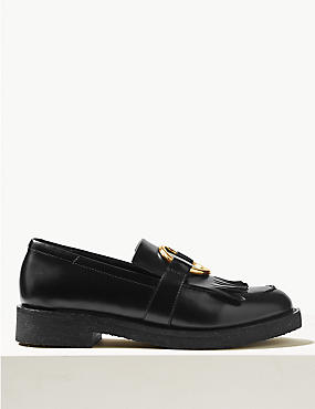 Leather Block Heel Ring Detail Loafers