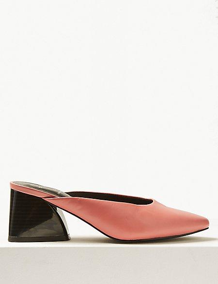 Leather Block Heel Mule Shoes