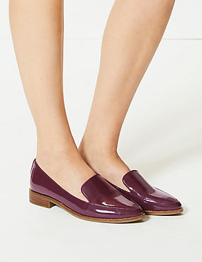 Leather Block Heel Loafers, BURGUNDY, catlanding