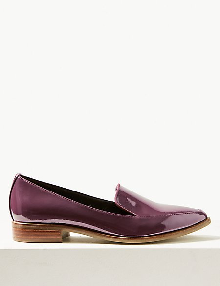 Leather Block Heel Loafers