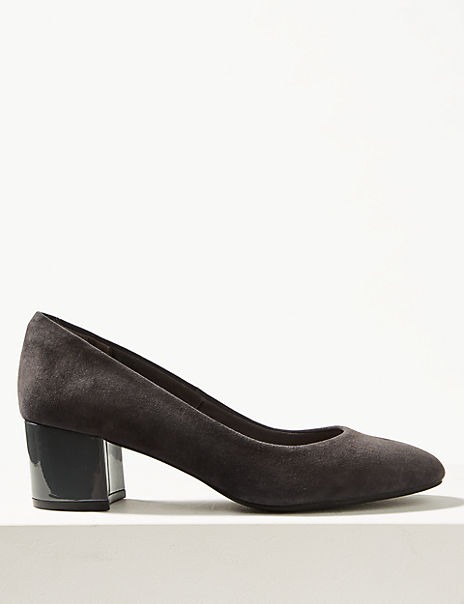 Block Heel Suede Court Shoes