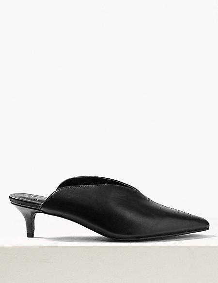 Leather Kitten Heel Mule Sandals