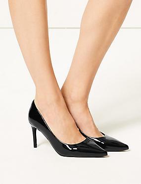 Stiletto Heel Court Shoes , BLACK, catlanding