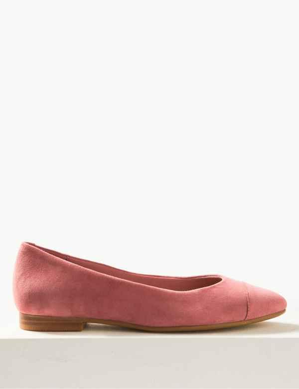 79d9a913db Suede Almond Toe Ballet Pumps