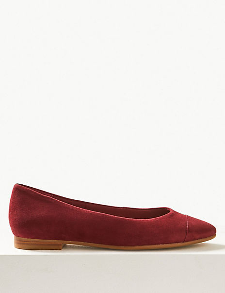 Suede Almond Toe Ballet Pumps