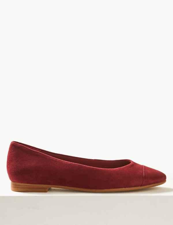 e547c852c7 Suede Almond Toe Ballet Pumps