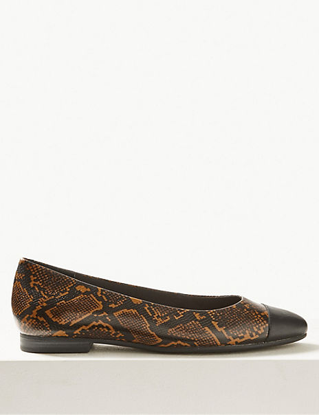 Leather Animal Print Almond Toe Ballet Pumps
