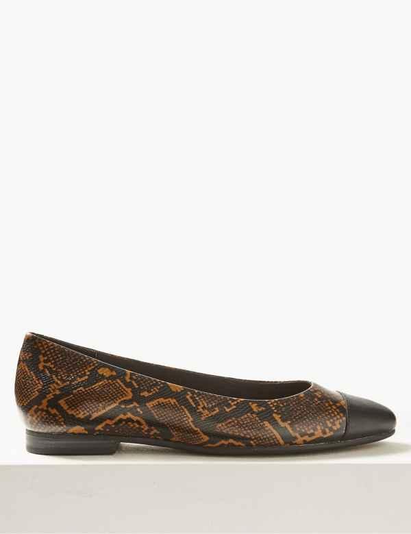90ce6b8ee Leather Animal Print Almond Toe Ballet Pumps