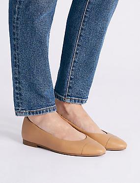 Leather Almond Toe Pumps