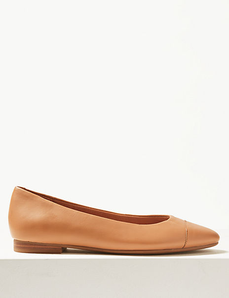 Leather Almond Toe Pumps