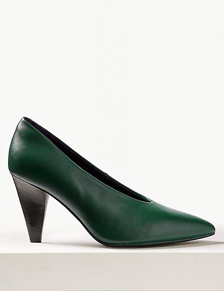 Leather High Cut Point Court Shoes