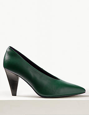 Leather High Cut Pointed Court Shoes