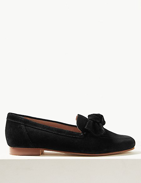 Suede Bow Detail Loafers