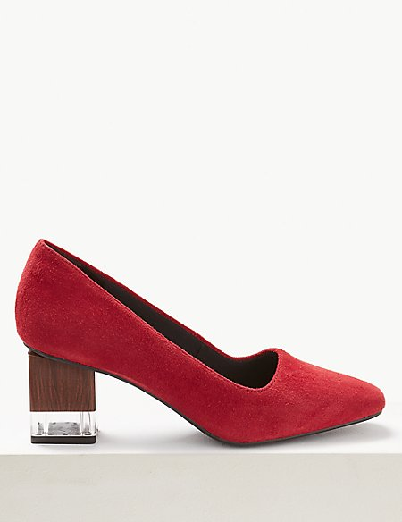 Suede Block Heel Court Shoes