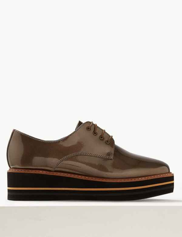 6a02ec9a11e Leather Flatform Brogue Shoes