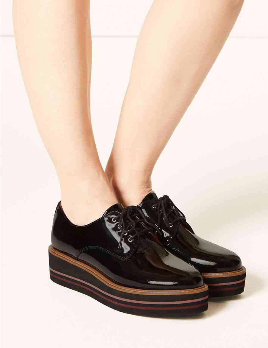 62570285e2fd Leather Patent Flatform Shoes
