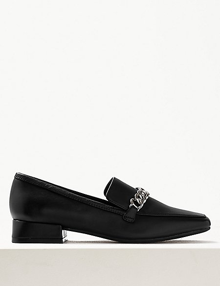 Leather Chain Detail Loafers