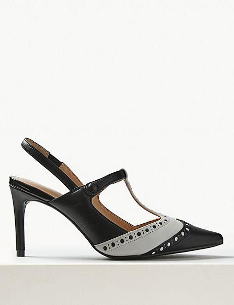 Leather Stiletto Heel T-Bar Slingback Shoes