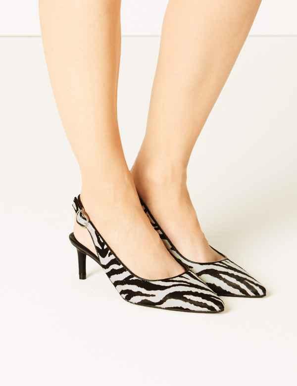 e7648dadc76d Leather Kitten Heel Slingback Shoes