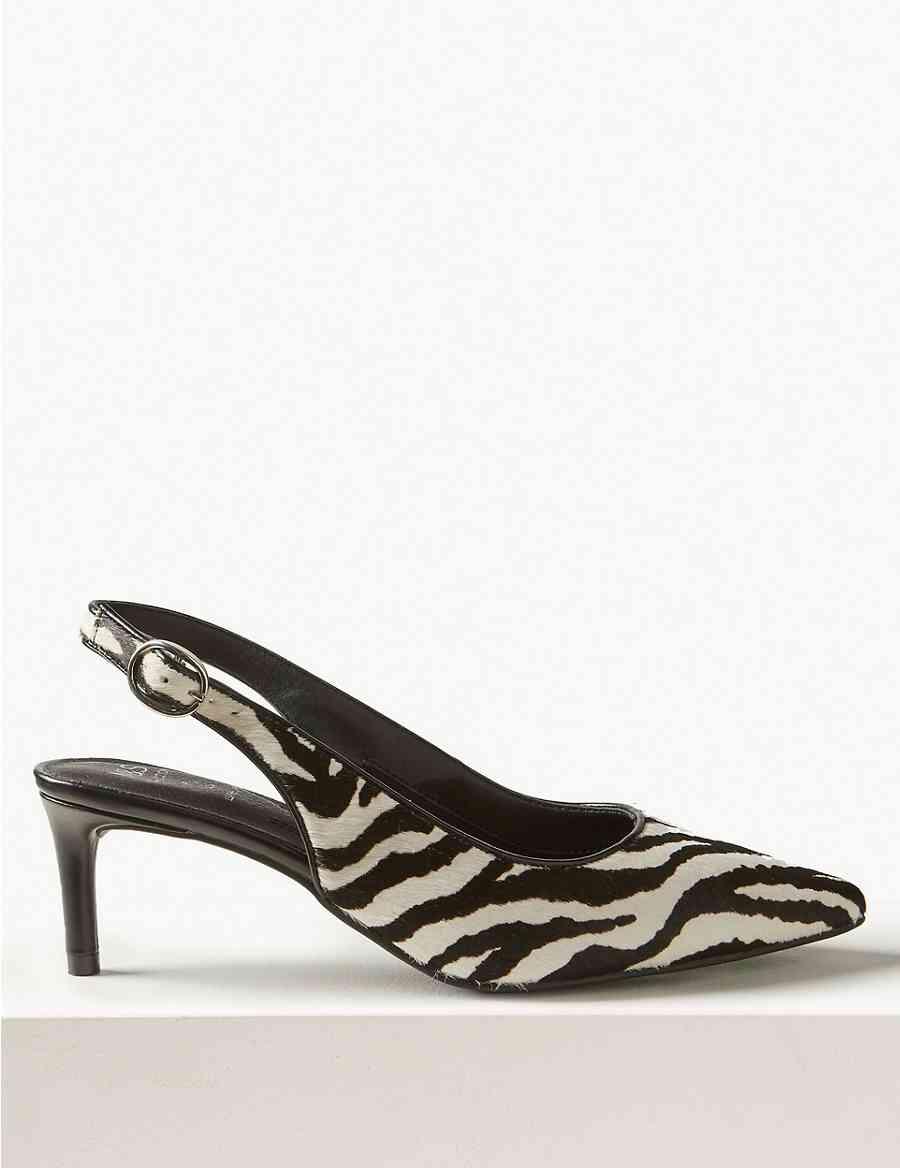 ce1125e3af7 Leather Kitten Heel Slingback Shoes