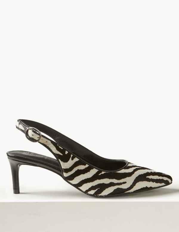 61c2596df670 Leather Kitten Heel Slingback Shoes