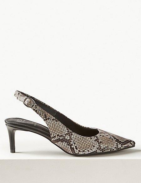 Leather Kitten Heel Slingback Shoes