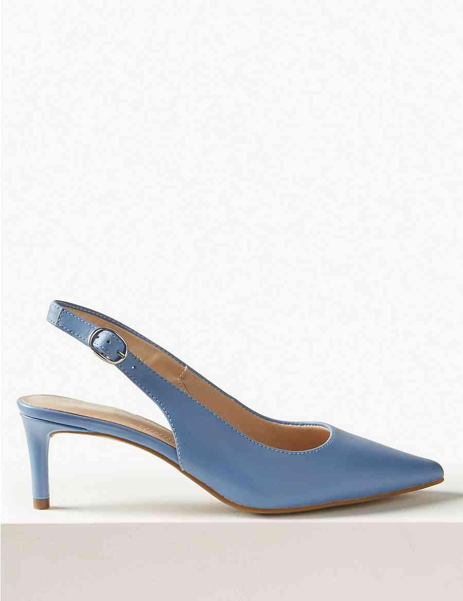 bf38acd2e216 Leather Kitten Heel Slingback Shoes