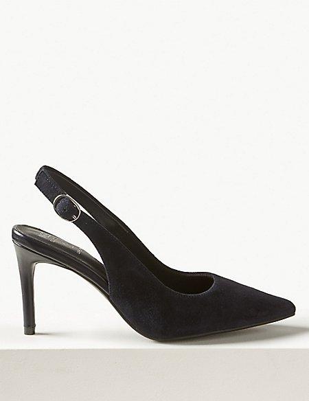 Suede Stiletto Heel Slingback Shoes