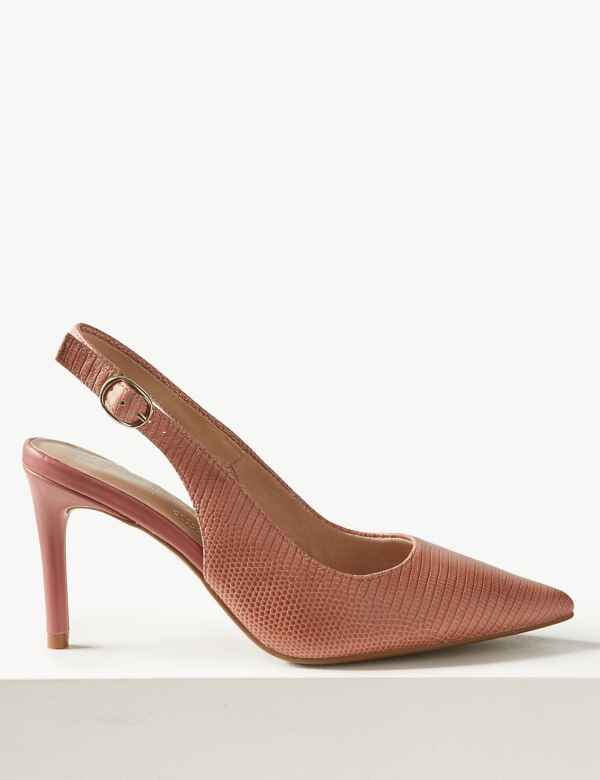 5fa216bbcbc5 Leather Stiletto Heel Slingback Shoes
