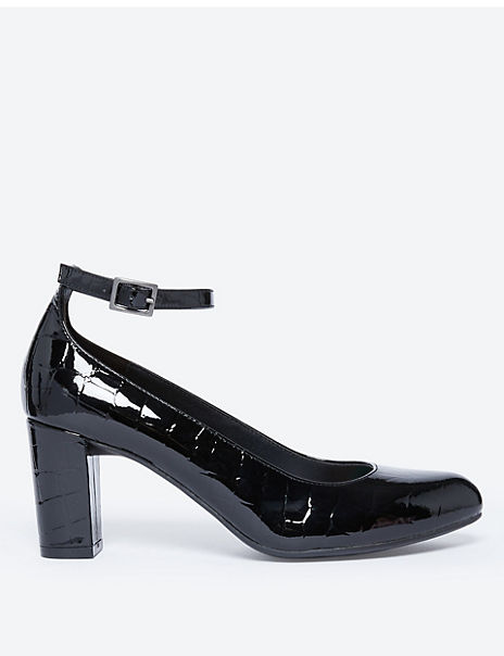 Leather Ankle Strap Court Shoes