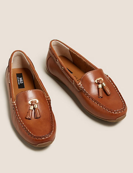 Leather Square Toe Tassel Boat Shoes