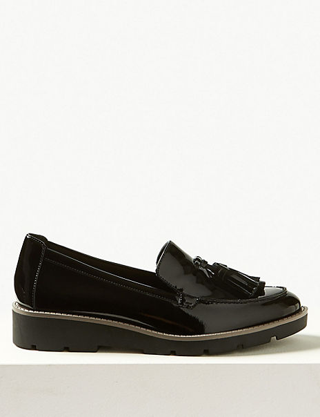 Leather Flatform Cleat Sole Loafers