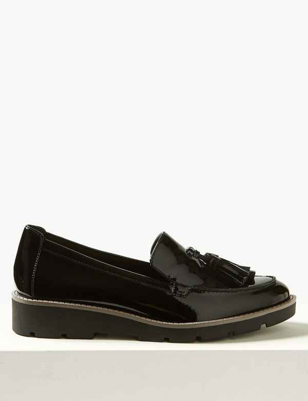 60d1f4340b6 Wide Fit Leather Flatform Heel Loafers. Online Only