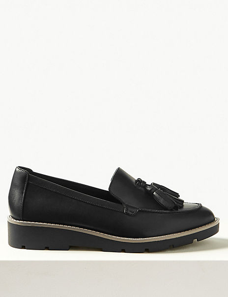 Leather Flatform Cleat Sole Tassel Loafers