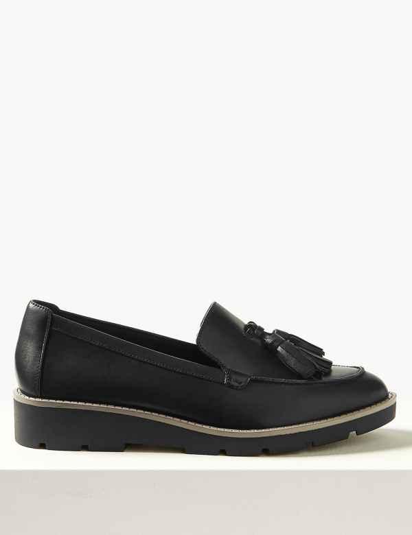 b5a524c6e0b Leather Flatform Cleat Sole Tassel Loafers