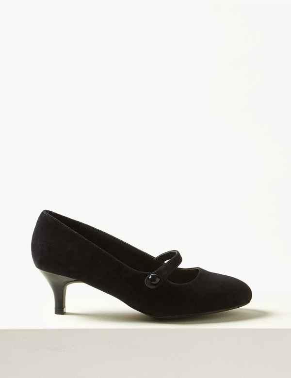 b63b6bdcdbd Suede Kitten Heel Court Shoes