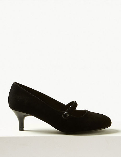 Suede Kitten Heel Court Shoes
